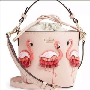 NWT! Kate Spade ♠️ flamingos pippa bucket bag.